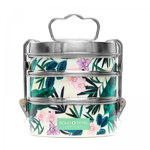Boho Tiffin Lunchbox Botanic White Large (3x750ml)