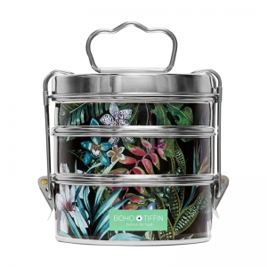 Boho Tiffin Lunchbox Botanic Black Originals (3x500ml)